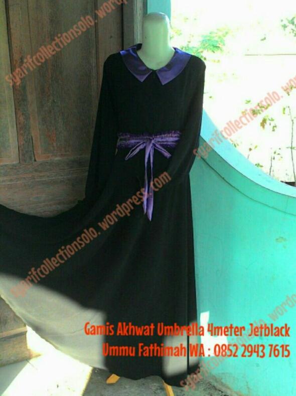 Gamis Akhwat Model Umbrella Jetblack Salimah Gallery Solo