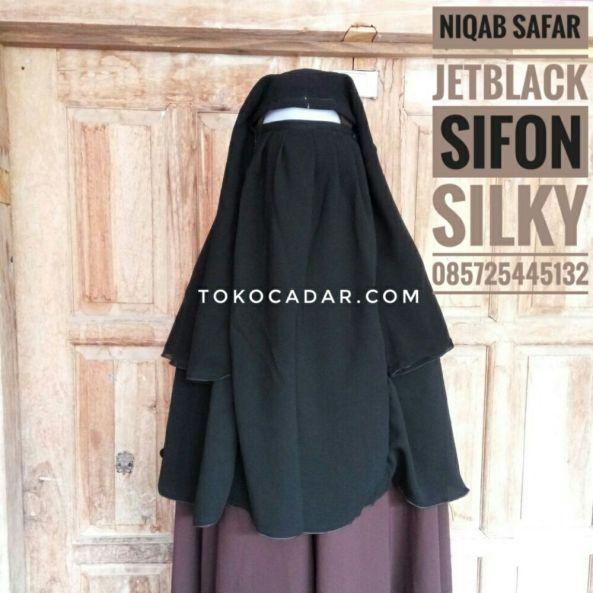 foto produsen jual cadar niqab safar lepas jetblack murah solo