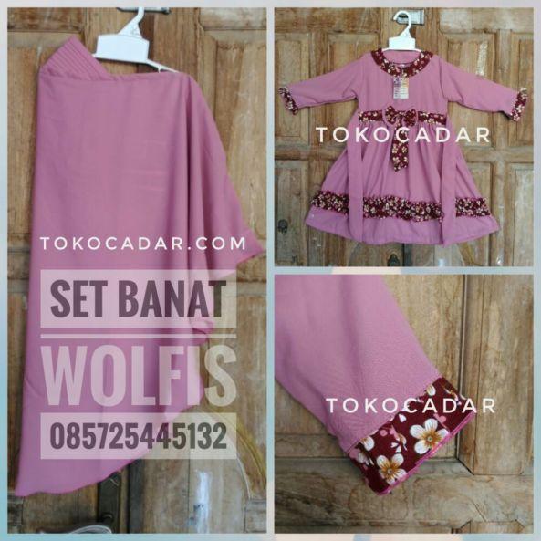 jual set gamis banat wolfis pink salem murah solo 2018